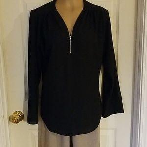 Tops - *2/$15 black Zip v-neck dress blouse